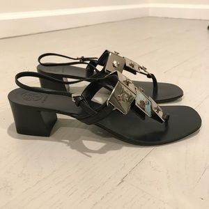 Tory Burch new hardware sandals black and silver